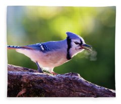 Blue Jay Breath Fleece Blanket