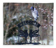 Blue Jay Is Welcome Here Fleece Blanket