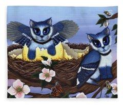 Blue Jay Kittens Fleece Blanket
