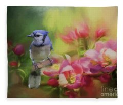 Blue Jay On A Blooming Tree Fleece Blanket