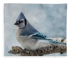 Blue Jay Perch Fleece Blanket