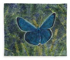 Blue Karner Butterfly Watercolor Batik Fleece Blanket