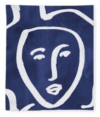 Blue Lady- Art By Linda Woods Fleece Blanket