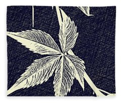 Blue Leaf Fleece Blanket
