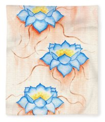 Blue Lilies Fleece Blanket