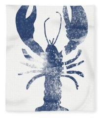 Blue Lobster- Art By Linda Woods Fleece Blanket