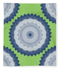 Blue Mandala- Art By Linda Woods Fleece Blanket
