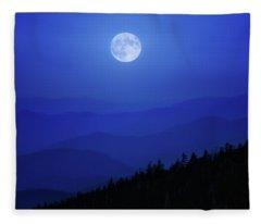 Blue Moon Over Smoky Mountains Fleece Blanket