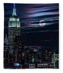 Blue Moon Rising Over Manhattan Fleece Blanket