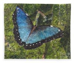 Blue Morpho Butterfly Batik Fleece Blanket