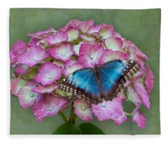 Blue Morpho Butterfly On Pink Hydrangea Fleece Blanket