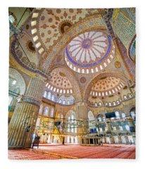 Blue Mosque Interior Fleece Blanket