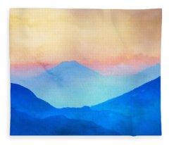 Blue Mountains Watercolour Fleece Blanket