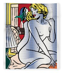 Blue Nude - Pop Art  Fleece Blanket