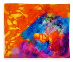 Blue On Orange Fleece Blanket