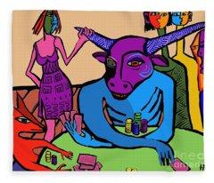 Blue Poker Bull Fleece Blanket