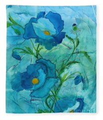 Blue Poppies, Watercolor On Yupo Fleece Blanket