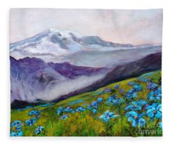 Blue Poppy Field Fleece Blanket