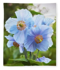 Blue Poppy Fleece Blanket