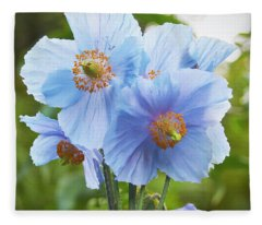 Blue Poppy Fleece Blanket