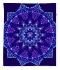 Blue And Purple Mandala Fractal Fleece Blanket