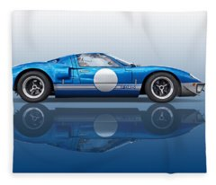 Blue Reflections - Ford Gt40 Fleece Blanket
