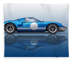 Blue Reflections - Ford Gt40 Fleece Blanket