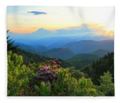 Blue Ridge Parkway And Rhododendron  Fleece Blanket