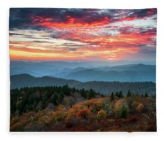 Blue Ridge Parkway Autumn Sunset Scenic Landscape Asheville Nc Fleece Blanket