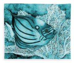 Blue Ring Angelfish On Blue Fleece Blanket