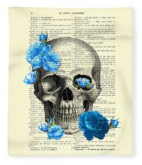 Blue Roses With Skull Art Print Fleece Blanket