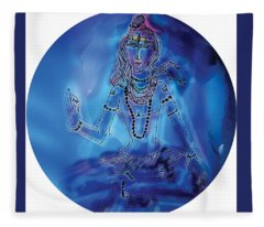 Blue Shiva  Fleece Blanket