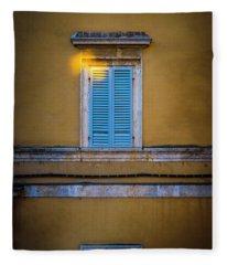 Blue Shutters Of Todi Fleece Blanket