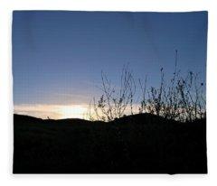 Blue Sky Silhouette Landscape Fleece Blanket