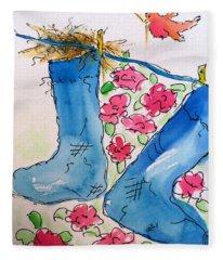 Blue Stockings Fleece Blanket