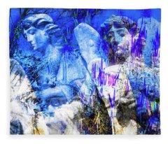 Blue Symphony Of Angels Fleece Blanket