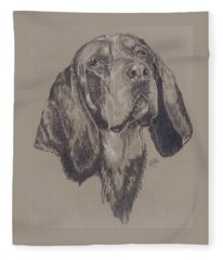 Fleece Blanket featuring the drawing Bluetick Coonhound by Barbara Keith