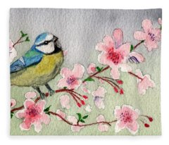 Blue Tit Bird On Cherry Blossom Tree Fleece Blanket