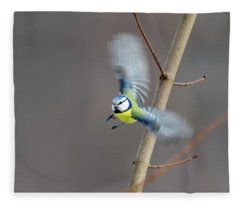 Blue Tit In Flight Fleece Blanket