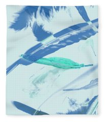Blue Toned Artistic Feather Abstract Fleece Blanket