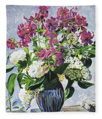 Blue Vase Arrangement Fleece Blanket