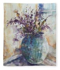 Blue Vase Of Lavender And Wildflowers Aka Vase Bleu Lavande Et Wildflowers  Fleece Blanket