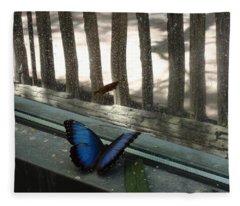 Blue Butterfly Looking Out Window Fleece Blanket