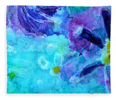 Blue Water Flower Fleece Blanket