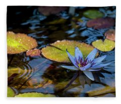 Blue Water Lily Pond Fleece Blanket