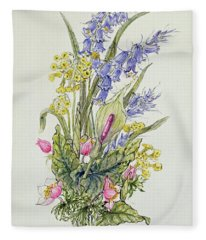 Bluebell Posy With Cowslips, Dogroses And Lily Fleece Blanket