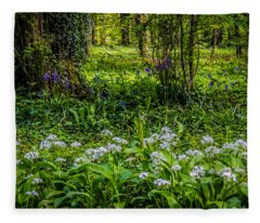 Bluebells And Wild Garlic At Coole Park Fleece Blanket