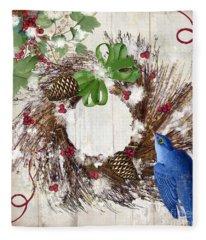 Bluebird Christmas II Fleece Blanket