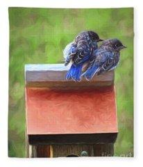 Bluebird Fledglings Fleece Blanket