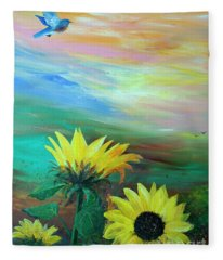 Bluebird Flying Over Sunflowers Fleece Blanket